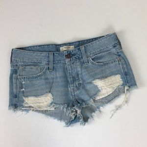 Abercrombie & Fitch raw hem ripped denim shorts